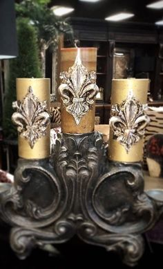 Fleur de lis candles on this gorgeous candelabra.
