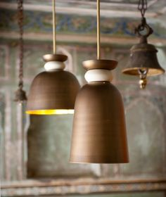 """Brass Pendant~Based on traditional temple bells, these brass pendant lights are available in two sizes.  8.5"""" diameter x 28"""" height and 12"""" diameter x 25"""" height   designer~Ayush Kasliwal"""