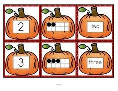 ***FREE***  This is a set of number cards with a pumpkin theme, 0-10. Three cards for each number - the number, a ten-frame representation, and the number word. Use for recognition, sequence, memory games, hiding and finding games, and of course, matching.  6 pages