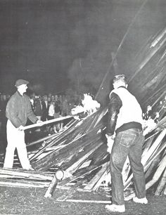 1957 Homecoming bonfire pep rally. From the 1958 Oregana (University of Oregon yearbook). www.CampusAttic.com