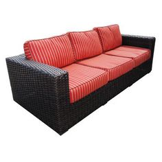 Teva Furniture Santa Monica Sofa with Cushions Fabric: Tangerine