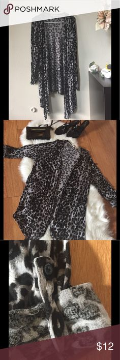Gray Leopard Print Cardigan Size 18/20 Long sleeve asymmetrical leopard cardigan. Sleeves can fold or roll up to 3/4 sleeve and Buttoned. Plus size ladies Inspire Sweaters Cardigans
