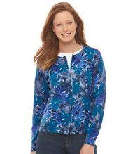 Lightweight Fine Gauge Sweater Cardigan Floral Misses Regular