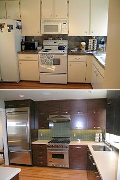 ...  Before after, Kitchen layouts with island and Gray subway tiles