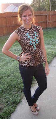 Peplum, leopard, and turquoise. Amazeballs