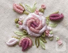Wonderful Ribbon Embroidery Flowers by Hand Ideas. Enchanting Ribbon Embroidery Flowers by Hand Ideas. Bullion Embroidery, Rose Embroidery, Hand Embroidery Stitches, Silk Ribbon Embroidery, Embroidery Techniques, Cross Stitch Embroidery, Advanced Embroidery, Embroidery Tattoo, Embroidery Patches