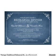 Vintage Chalkboard Rehearsal Dinner Invitation