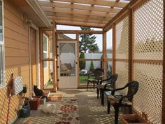 My new Cat Porch inside. With two of my four cats.