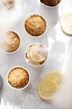 I remember these Lemon Muffins from my childhood where my grandmother would bake these and cover them with a powdered sugar glaze. Lemon Recipes, New Recipes, Powdered Sugar Glaze, Nordic Kitchen, Cupcake Mold, Lemon Muffins, Butter Frosting, Crumble Topping, Sweet And Salty