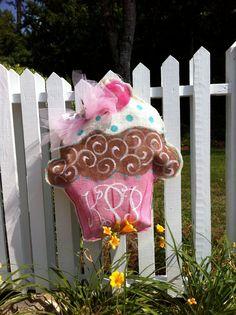 Burlap cupcake door hang with personalization.