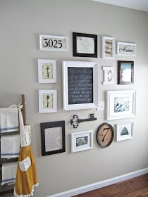 Gallery wall with diy pictures made from scrapbook paper. Some good ideas here.