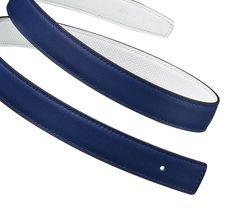 Hermès   Women's reversible leather belt strap in sapphire blue Swift calfskin and white Epsom calfskin (width: 24 mm)   Ref. H052150CACB080   €300 / £275.00
