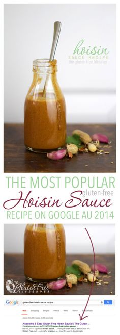Gluten-free hoisin sauce recipe - ALS - yields cup; use food processor instead of immersion blender Gluten Free Hoisin Sauce, Gluten Free Sauces, Gluten Free Cooking, Gluten Free Recipes, Cooking Recipes, Healthy Recipes, Gluten Free Barbecue Sauce Recipe, Gluten Free, Asian Food Recipes