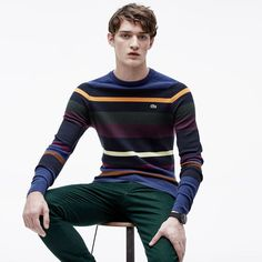 Crew neck sweater in striped cotton and wool Urban Fashion, Boy Fashion, Mens Fashion, Fashion Outfits, Lacoste, Denim Jacket Men, Boys Wear, Preppy Style, Mens Clothing Styles