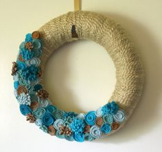 Summer Beach Wreath, Aqua and Tan Ocean Colors Yarn and Felt Wreath, 14 inch size - MADE TO ORDER