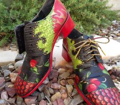 Items similar to Cherry Flame: shoes, hand painted, embossed leather, wooden heels, women's size on Etsy Art Shoes, Shoe Art, Beautiful Shoes, Beautiful Outfits, Baskets, Shoe Painting, Cycle Chic, Walk This Way, My Socks