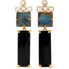 Bounkit - Gold-tone Multistone Earrings ($218) ❤ liked on Polyvore featuring jewelry, earrings, black, earring jewelry, multi color jewelry, multi stone earrings, bounkit jewelry and multicolor earrings
