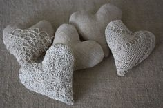 Linen and Lace hearts | Flickr - Photo Sharing!