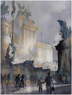 Shadows - Altare Della Patri - Rome by Thomas W. Schaller Watercolor ~ 30 inches x 22 inches