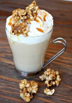 Caramel Corn Hot Chocolate: almond milk, corn, white chocolate, whipped cream, caramel sauce, corn