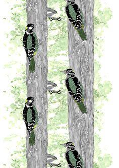 Metsärumpu classic, green by Riina Kuikka New York Street, Ss16, Scandinavian Design, Fabric Patterns, Finland, Vikings, Fabrics, Textiles, My Favorite Things