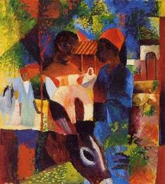 Nice little donkey, you are. Marché de Tunis, Auguste Macke