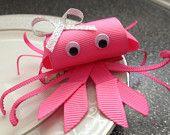 Hot Pink Crab Hair Clip - Toddler Baby Hair Clip - Ribbon Sculpture - Pink Clippie - Girl Hair Clip - Infant Hair Clip