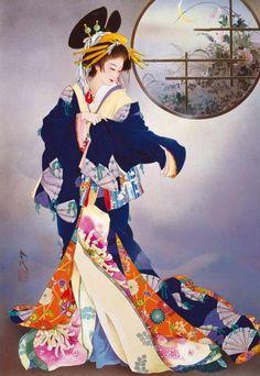 handmade card/picture By Haruyo Morita ... geisha in flowing kimono .. like the circle with sea scene in the corner ...