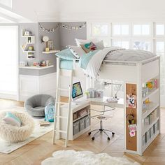 Sturdy, stylish and fun to decorate, our GREENGUARD Gold Certified Sleep + Study® Loft Bed has everything you need in one charming package. It features a loft bed over a compact desk with ample storage space, including shelving on both sides … Cute Bedroom Ideas, Cute Room Decor, Girl Bedroom Designs, Teen Room Decor, Room Ideas Bedroom, Bedroom Loft, Awesome Bedrooms, Dream Bedroom, Bedroom Decor