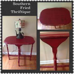 Colonial red side table