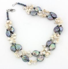 Keshi and Coin Pearl Necklace  KP3116 by GemJunky1 on Etsy