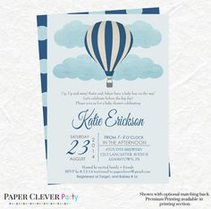 Boy hot air balloon baby shower invitation up up and away chevron boys hot air ballon baby shower invitations in by papercleverparty filmwisefo