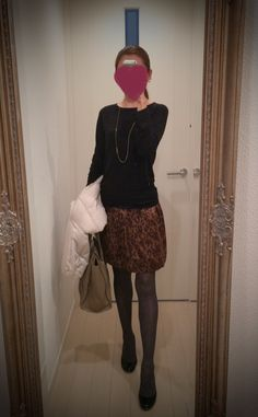 Black blouse and cheetah print skirt - http://ameblo.jp/nyprtkifml