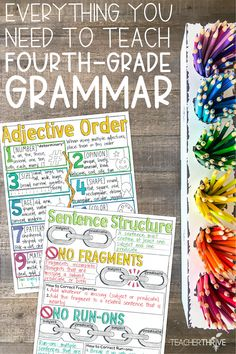 Everything you need to teach fourth-grade grammar. This is bundle contains complete units on 28 different topics for fourth-grade language and/or grammar. 4th Grade Ela, 5th Grade Writing, 4th Grade Classroom, 4th Grade Reading, Third Grade, Classroom Door, Sixth Grade, Guided Reading, Teaching Grammar
