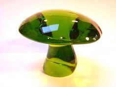 VIKING GLASS MUSHROOM Green Mid century 1960 by GingerJindo, $65.00