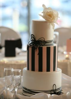 Cream, pink, black cake- I like! Faye Cahill cake design