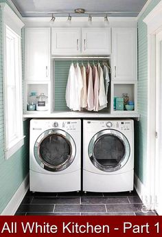 All White Kitchen - Part 1 {960470} #laundry #storage #ideas #laundrystorageideas Our plans for our all white kitchen include a beautiful white stone on the counter and walls, white cabinets and wooden floors for a touch of warmth.