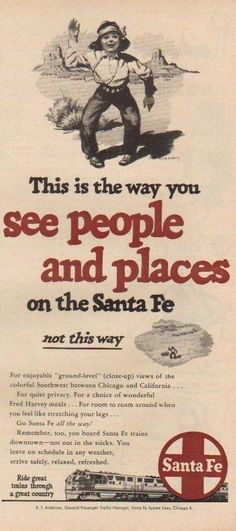 1950 Santa Fe Railroad~Waving Native American Indian Boy~Vintage 1950s Train Ad.
