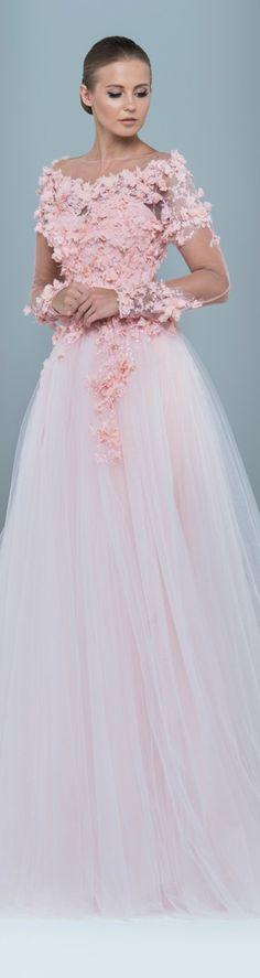 Marwan & Khaled ~ Couture Pink Floral Applique Bridal Gown 2015