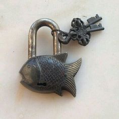 Pare carved brass lock old antique fish padlock