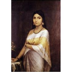 Kerala Royal Lady or Malayalee lady (Ravi Varma Print)