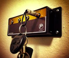 "Rock out with your...keys and fobs secured safely in a Jack Rack so you don't lose or impale yourself with them. A bangin' nod to the guitar amp, Jack Racks are mountable keychain holders with real 1/4"" musical input jack keychains that plug into the po"