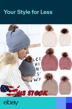 b26bd279a3d USA Mom Newborn Baby Boy Girl Winter Warm Fur Pom Bobble Knit Beanie Hat  Ski Cap