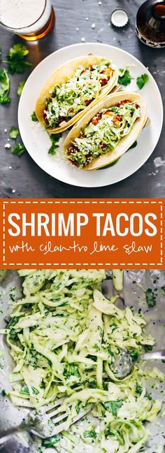 Spicy Shrimp Tacos with Garlic Cilantro Lime Slaw - ready in 30 minutes and loaded with avocado, spicy shrimp, and a homemade creamy lime slaw. Best tacos I've ever had!