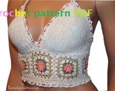 crochet crop top Crochet Pattern PDF Women Top White Cotton Crochet top Bikini Top Hippie Top PDF pattern
