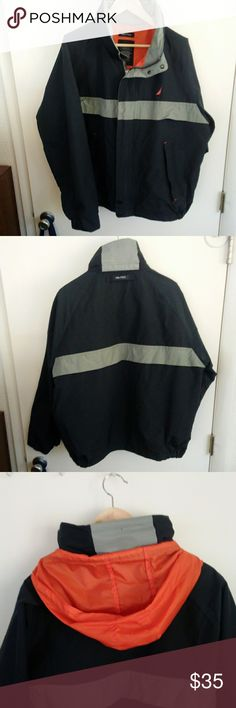 NAUTICA Heavy Windbreaker Jacket w Hood Nautica heavy windbreaker jacket. Has hood that tucks into the collar when not in use. Zippered pockets in front. Good used condition with some wear on the inside collar. Nautica Jackets & Coats