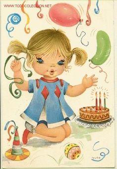 Big Eyes, Princess Peach, Happy Birthday, Fictional Characters, Caricatures, Drawings, Birthday Cake, Vintage Postcards, Ladybugs