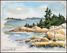 Posts about Maine written by Jean Mackay / Drawn In Beach Watercolor, Watercolor Pictures, Watercolor Landscape Paintings, Pen And Watercolor, Watercolor Trees, Watercolour Painting, Landscape Art, Painting & Drawing, Watercolor Artists