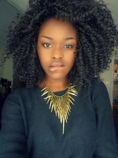 Big hair + gold statement necklace #NaturalHair  #curls #curly