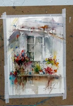 Flowers/Window | Watercolor by Fabio Cembranelli
